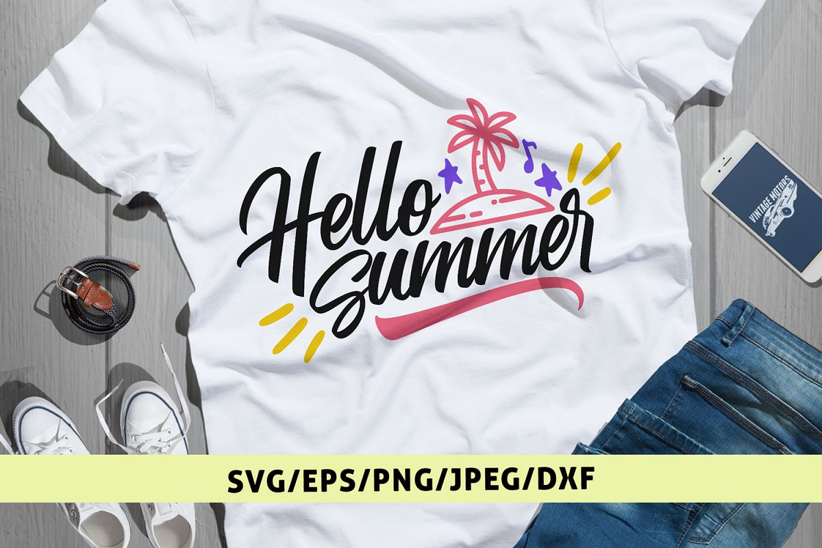Hello Summer Summer Svg Eps Dxf Png Cutting Files