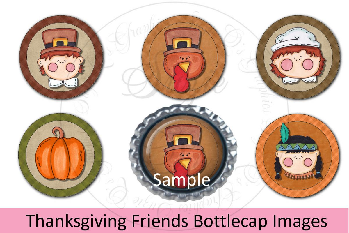 Thanksgiving Friends Bottlecap Images, Labels example image 1