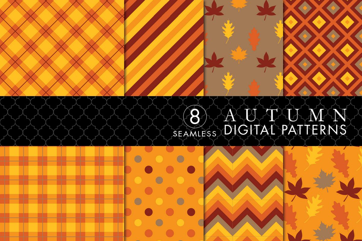 8 Seamless Autumn Patterns Set 1 example image 1