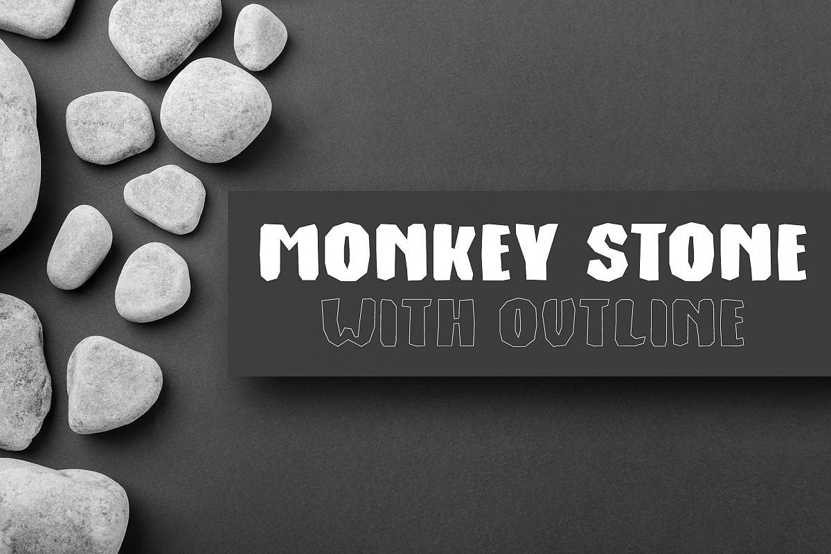 Monkey Stone With Outline example image 1
