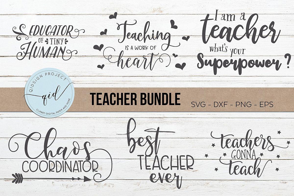 Teacher Bundle, Teacher cutting files, SVG DXF PNG EPS example image 1