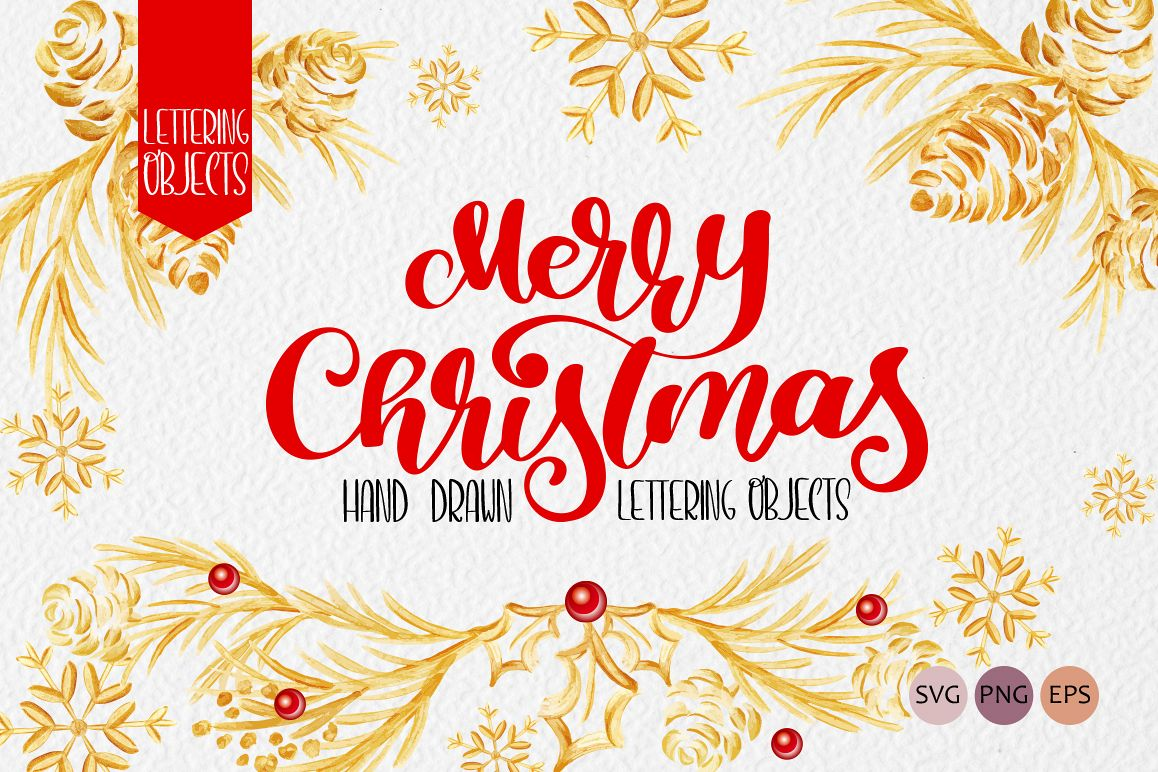 Merry Christmas Hand Draw Lettering Objects example image 1