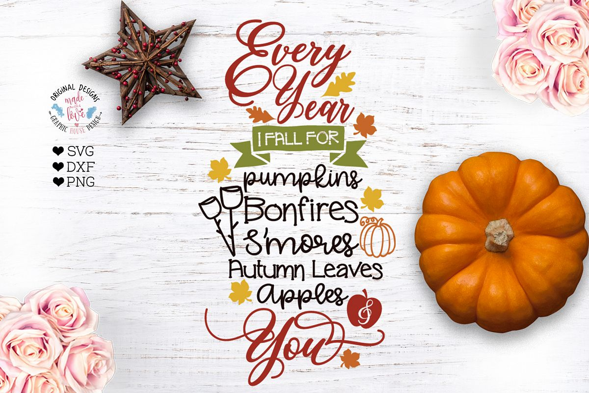 Every Year I Fall For you - Autumn Fall Cut File example image 1