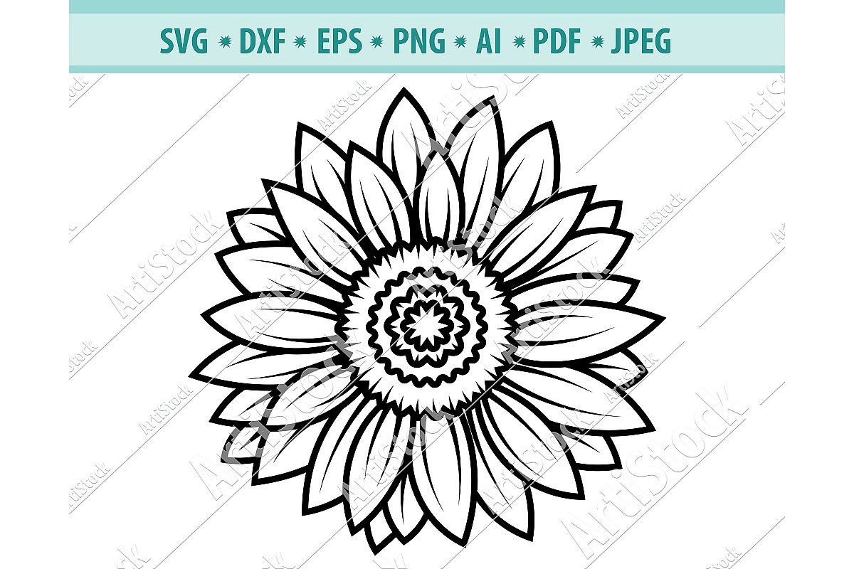 Sunflower svg, Sunflower clipart, Sun frame Dxf, Png, Eps example image 1