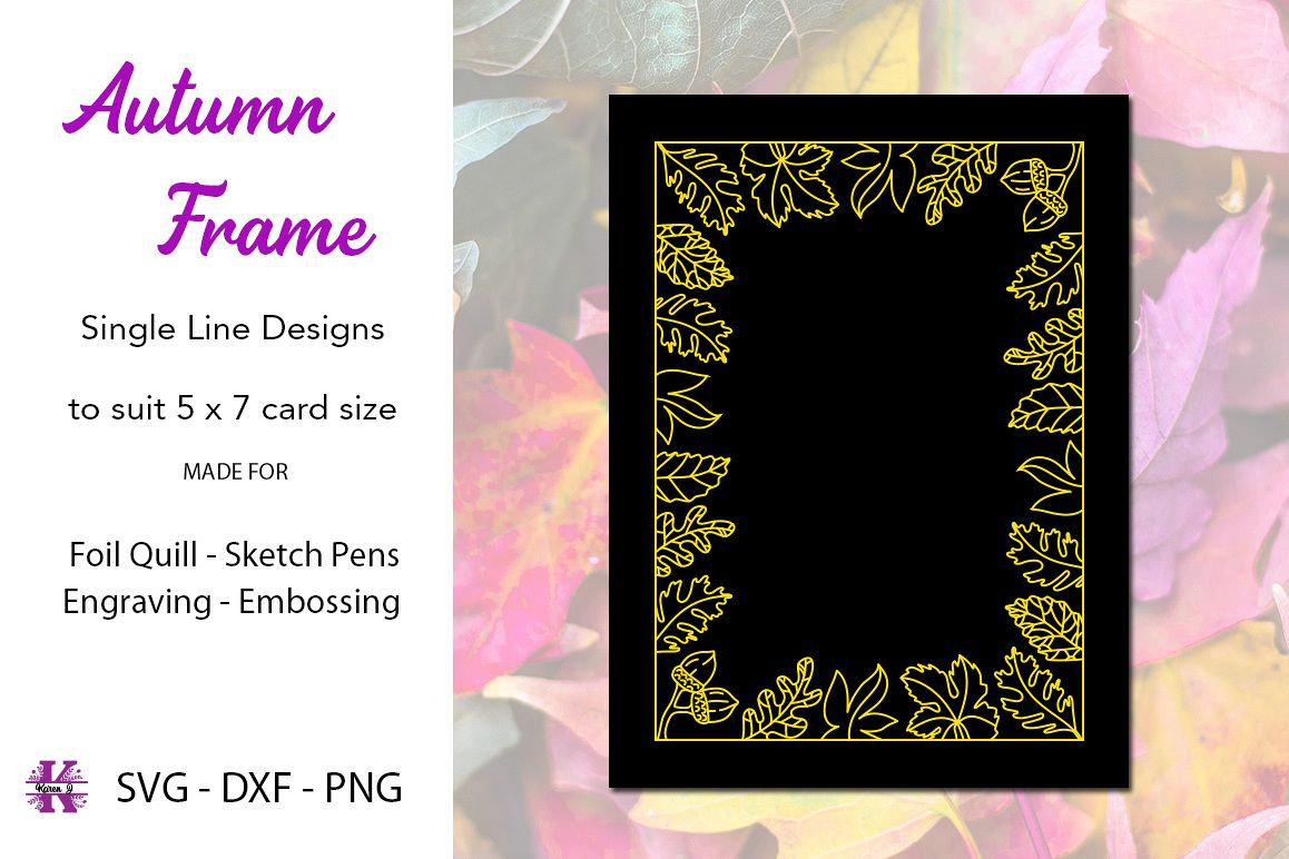 Autumn Frame for Foil Quill Single Line Design example image 1