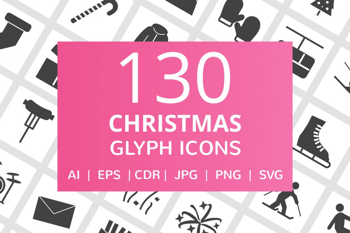 130 Christmas Glyph Icons example image 1