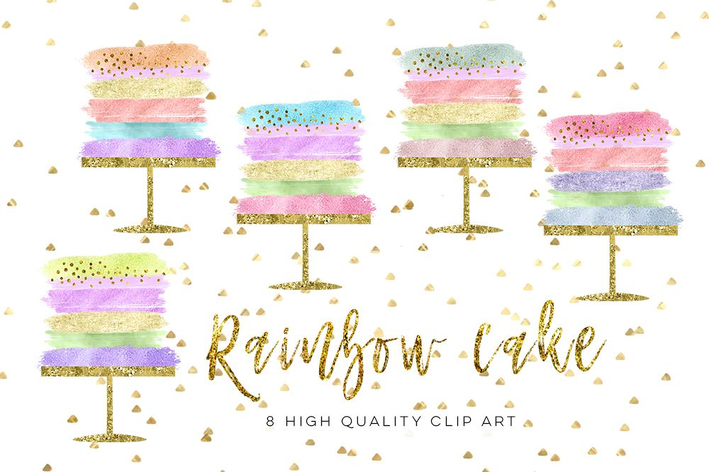 birthday cake clip art, Wedding Cake clip art set, Party rainbow cake clip art, Cake Clipart, Cake Clip Art Digital Cake Wedding brush example image 1