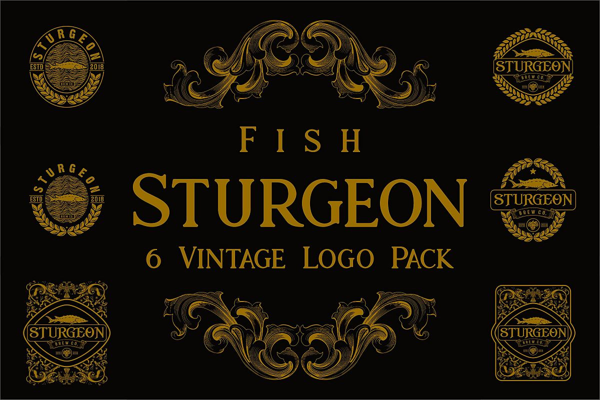 Sturgeon Vintage Logo Pack example image 1