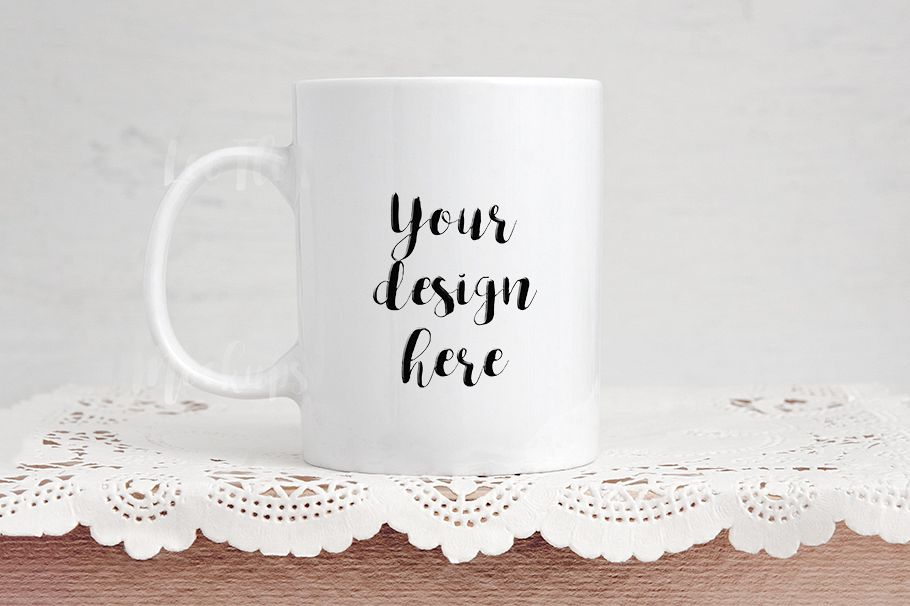 White Coffee Mug Mock Up Cup Template Decor Rustic Rose Gold Background Example Image 1
