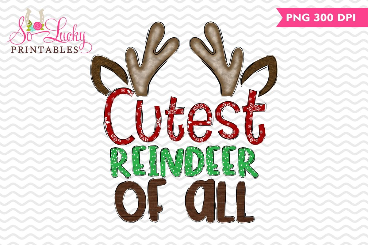 Cutest reindeer watercolor printable sublimation design example image 1