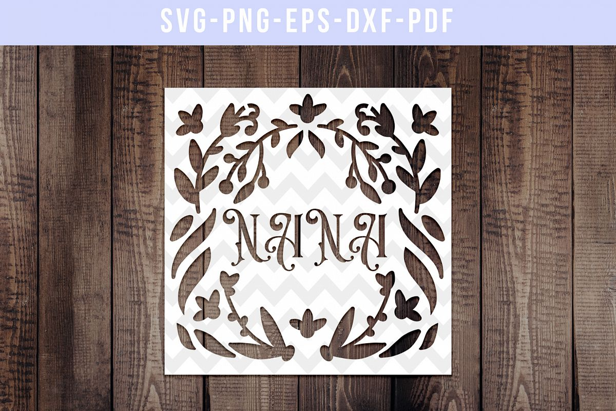 Nana Papercut Template, Family Clip Art, SVG, PDF, DXF example image 1