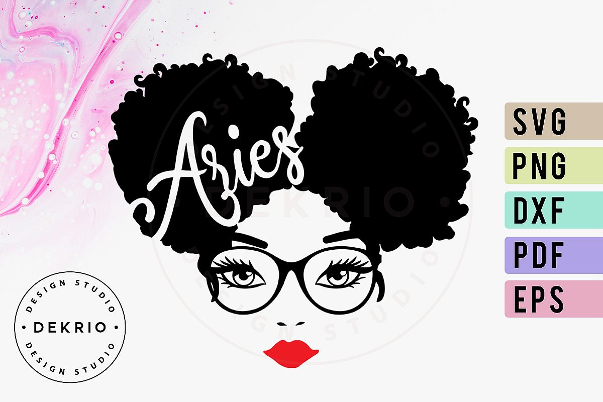 Aries Afro Woman SVG PNG DXF EPS PDF Files example image 1