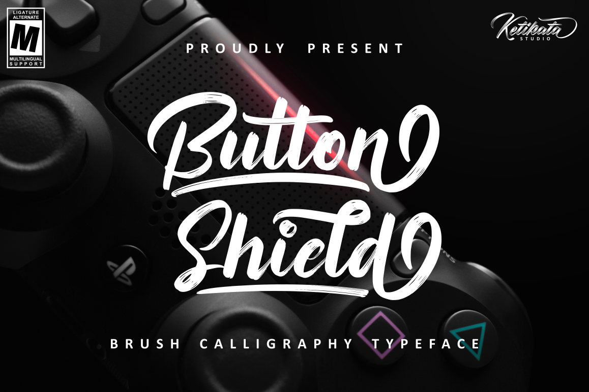 Button Shield Brush Font example image 1
