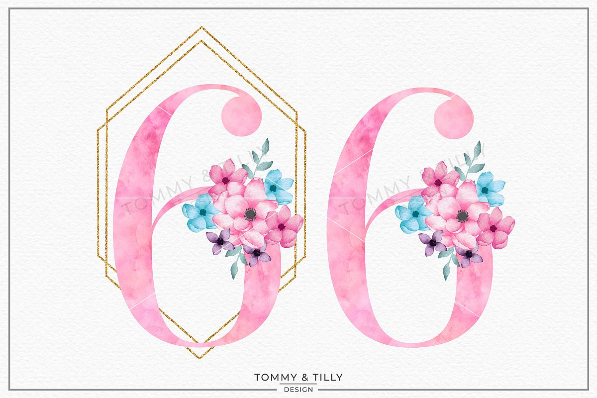 Six Pink Bouquet Birthday Number - Sublimation PNG Clipart example image 1