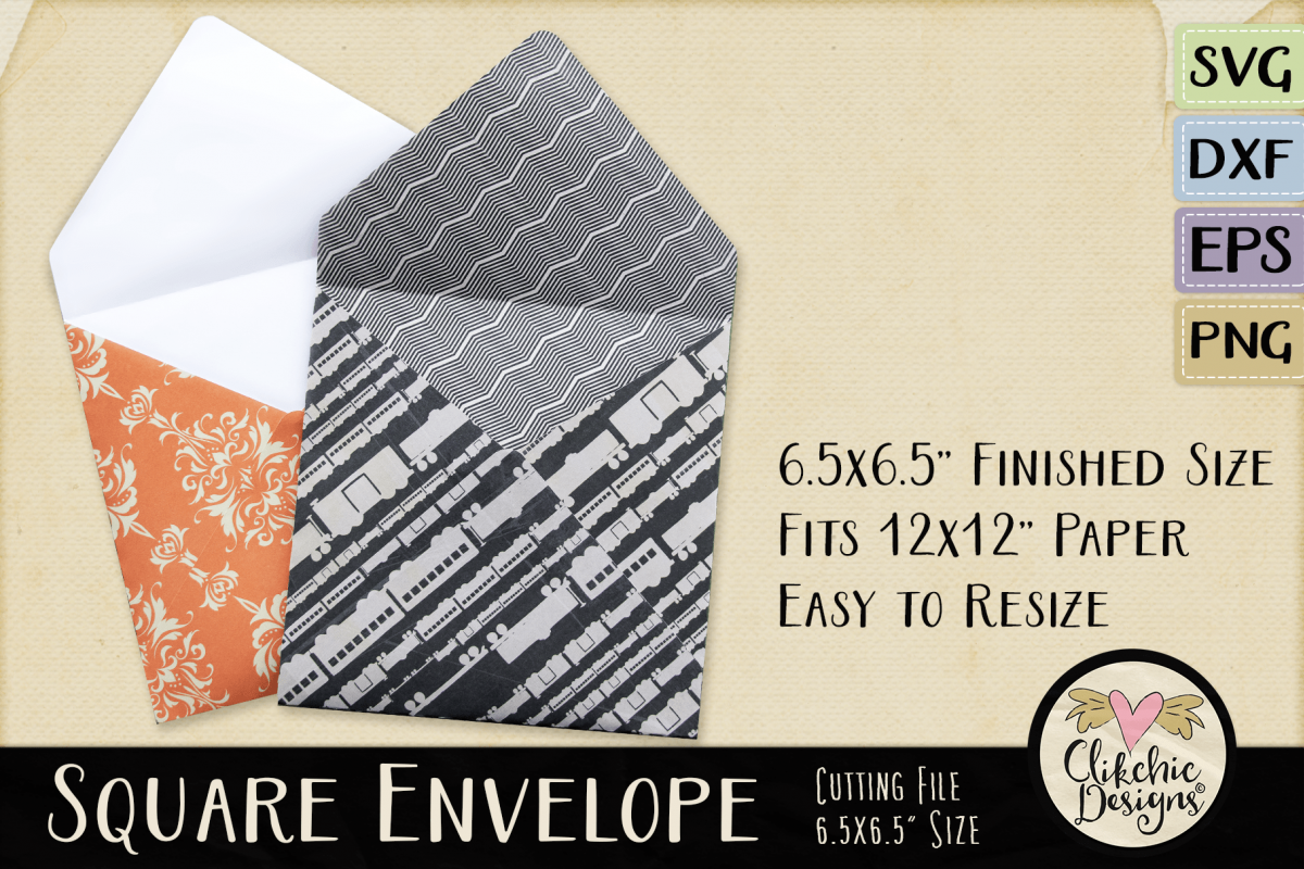 Square Envelope SVG - Square Envelope Cutting File Template example image 1