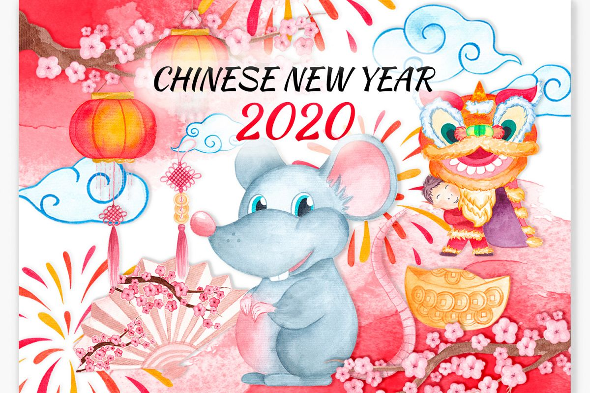 Chinese New Year clipart New year 2020 Year of the Rat example image 1