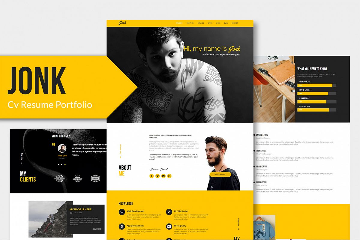 JONK - CV Resume Personal PSD Template example image 1
