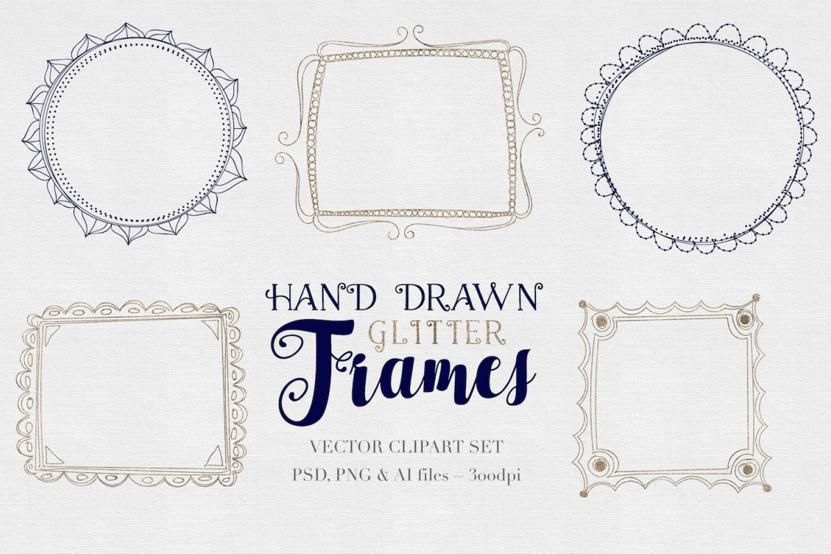 SALE *Sketched Vector Glitter Frames example image 1