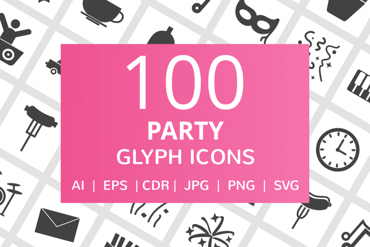 100 Party Glyph Icons example image 1