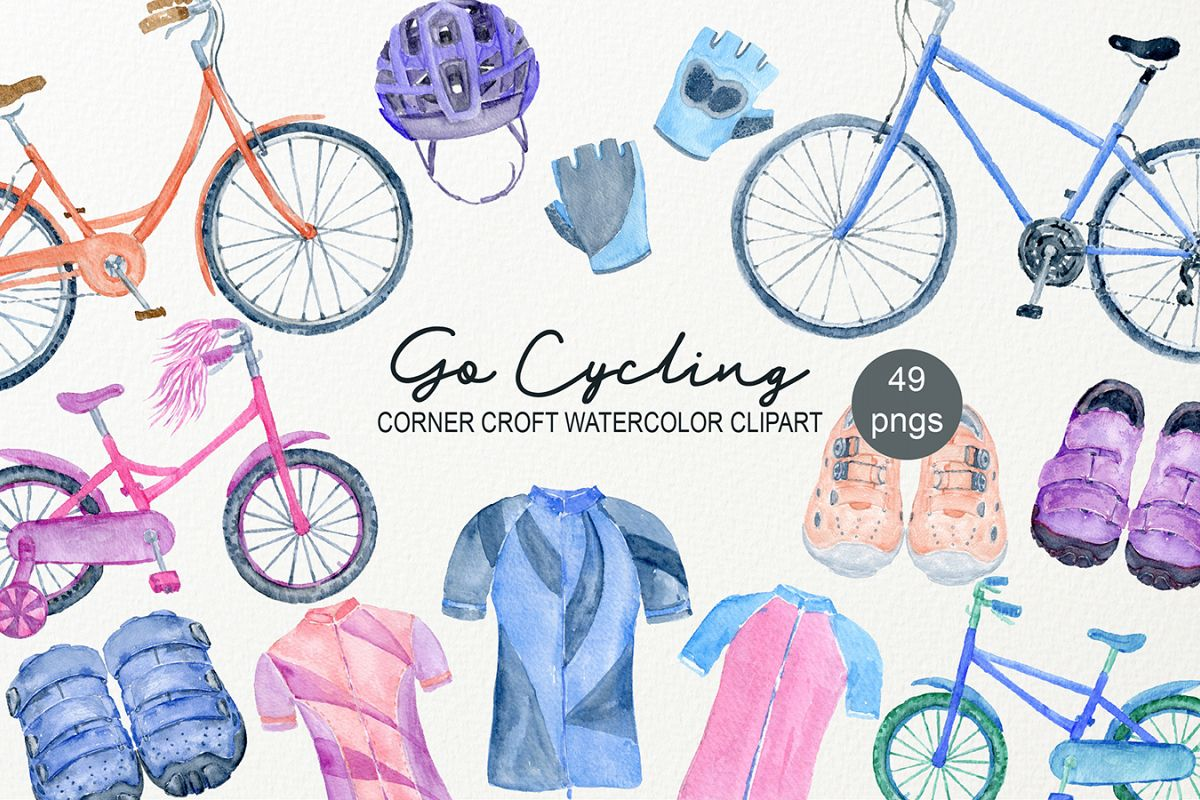 Watercolor Cycling Clipart example image 1