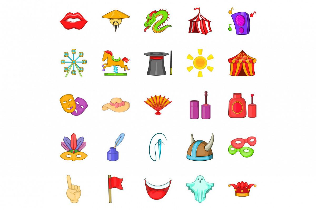Jollify icons set, cartoon style example image 1
