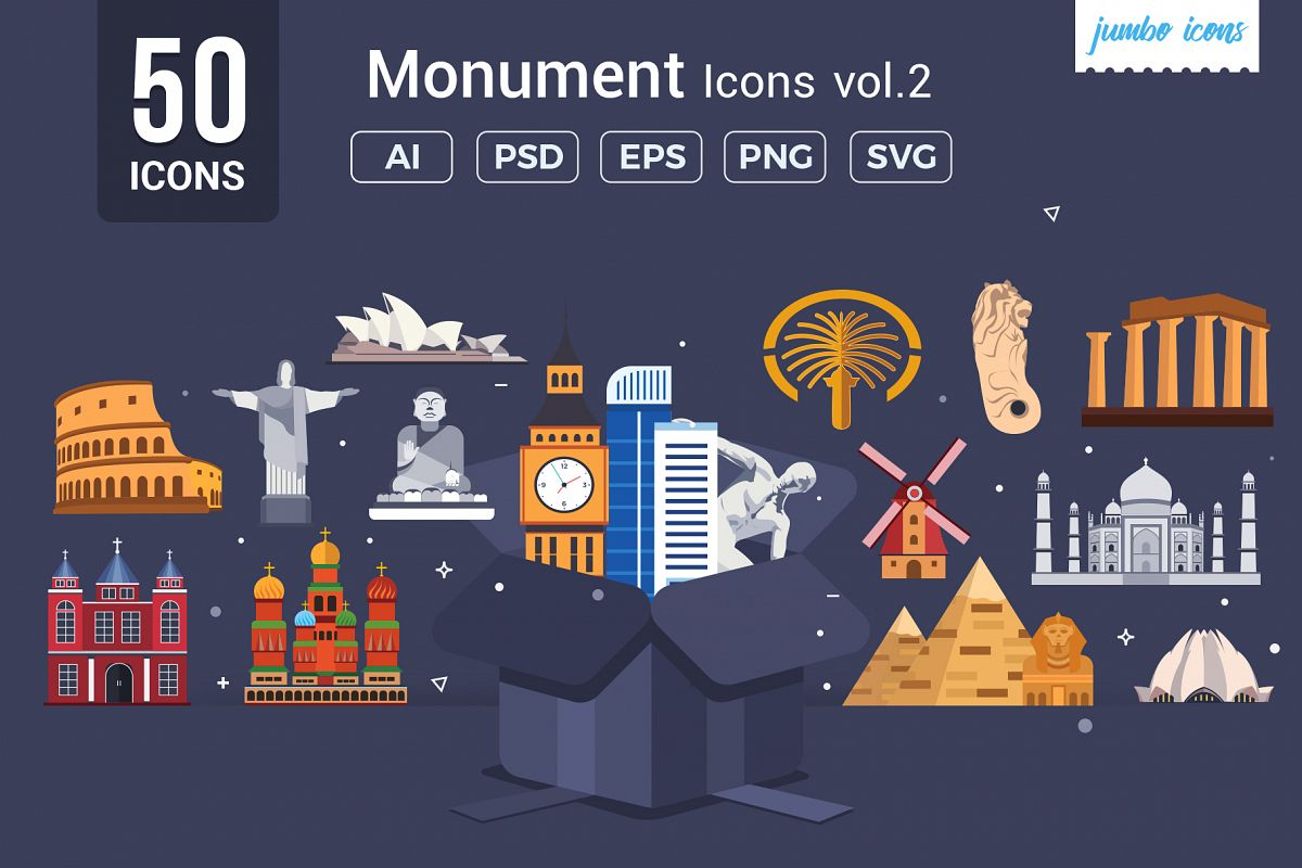 Flat Vector Icons Monument Pack V2 example image 1