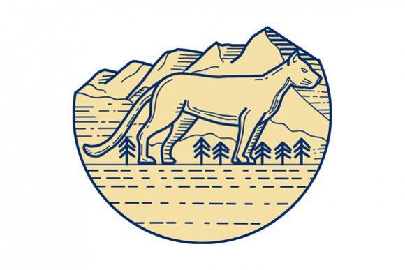 Cougar Mountain Lion Tree Mono Line example image 1