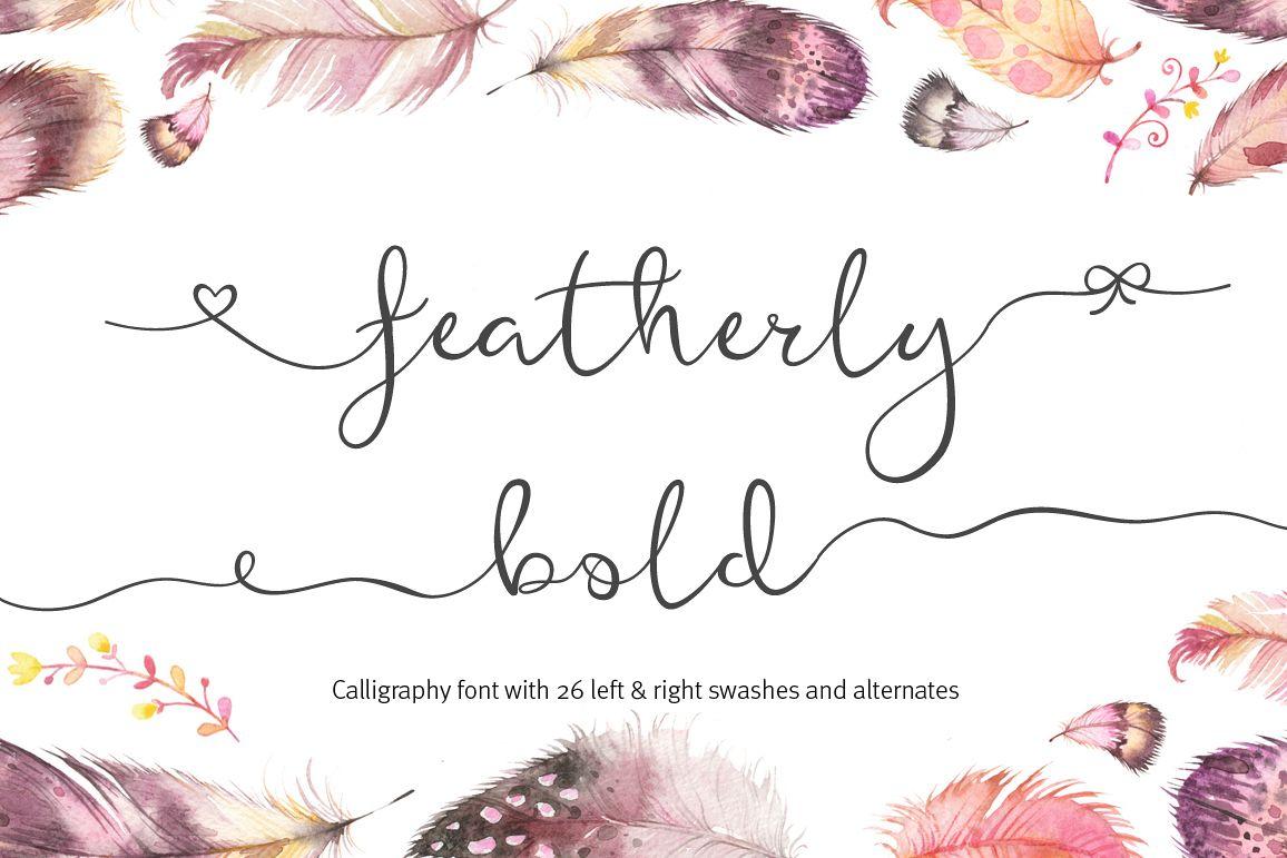 Featherly Bold Font - wedding font example image 1