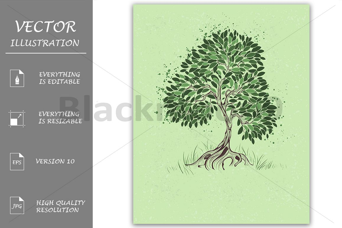 Tree on a Green Background example image 1