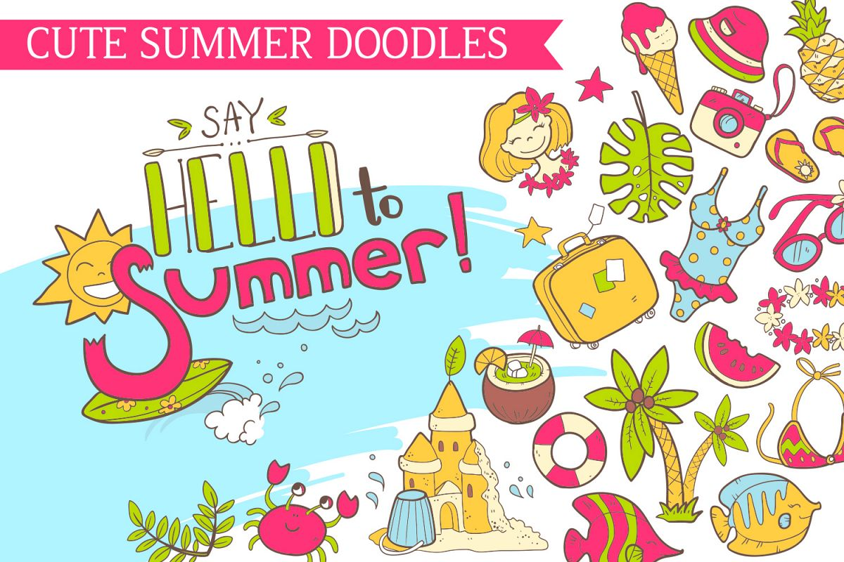 Summer vector doodles collection. example image