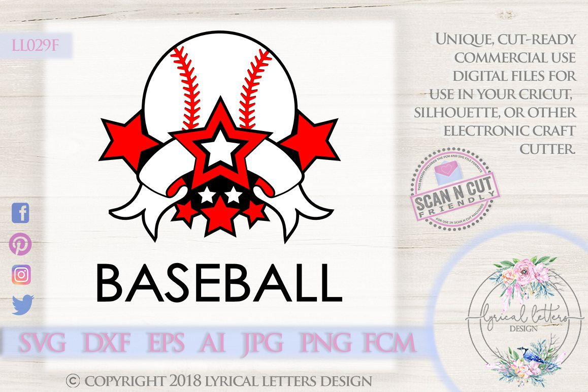 Baseball Sports Banner with Stars SVG DXF FCM LL029F example image 1