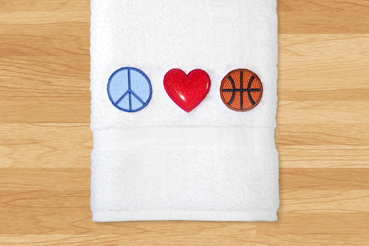 Peace Love Basketball Applique Embroidery Design example image 1