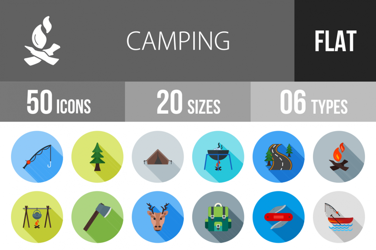 50 Camping Flat Long Shadow Icons example image 1
