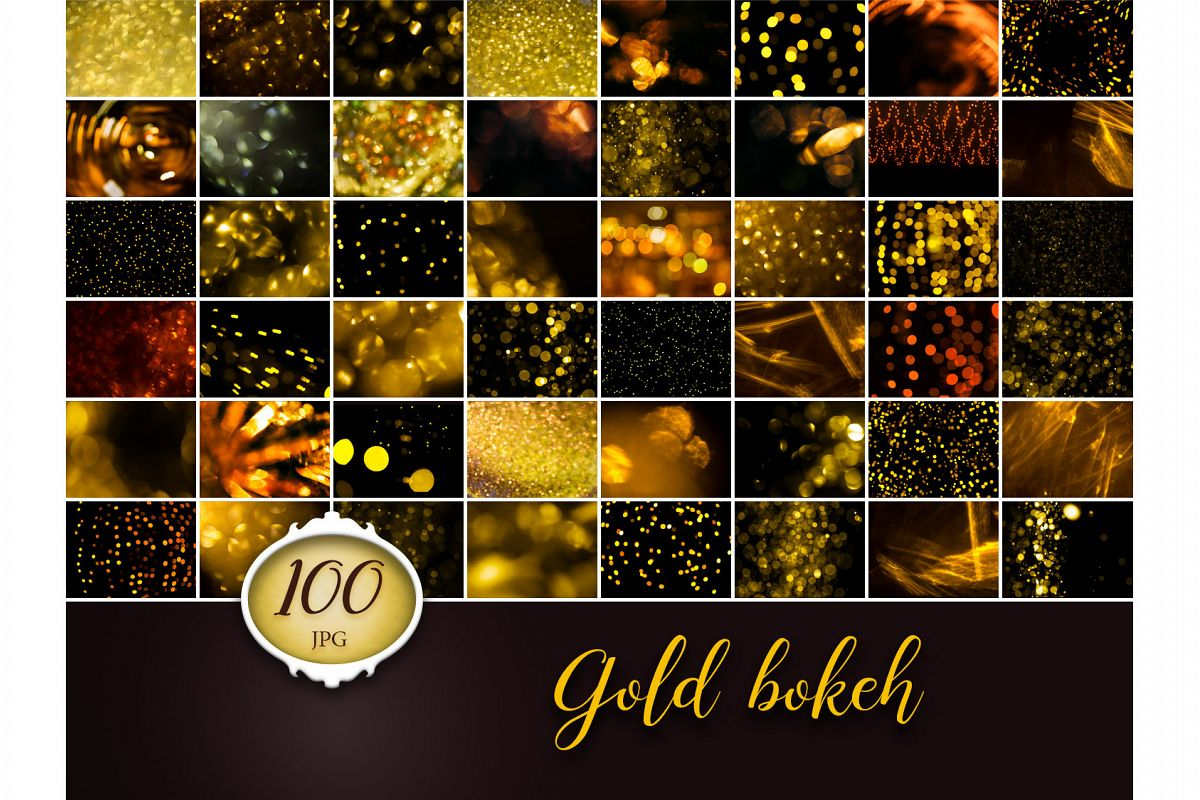 100 Gold Bokeh Photo Overlays example image 1