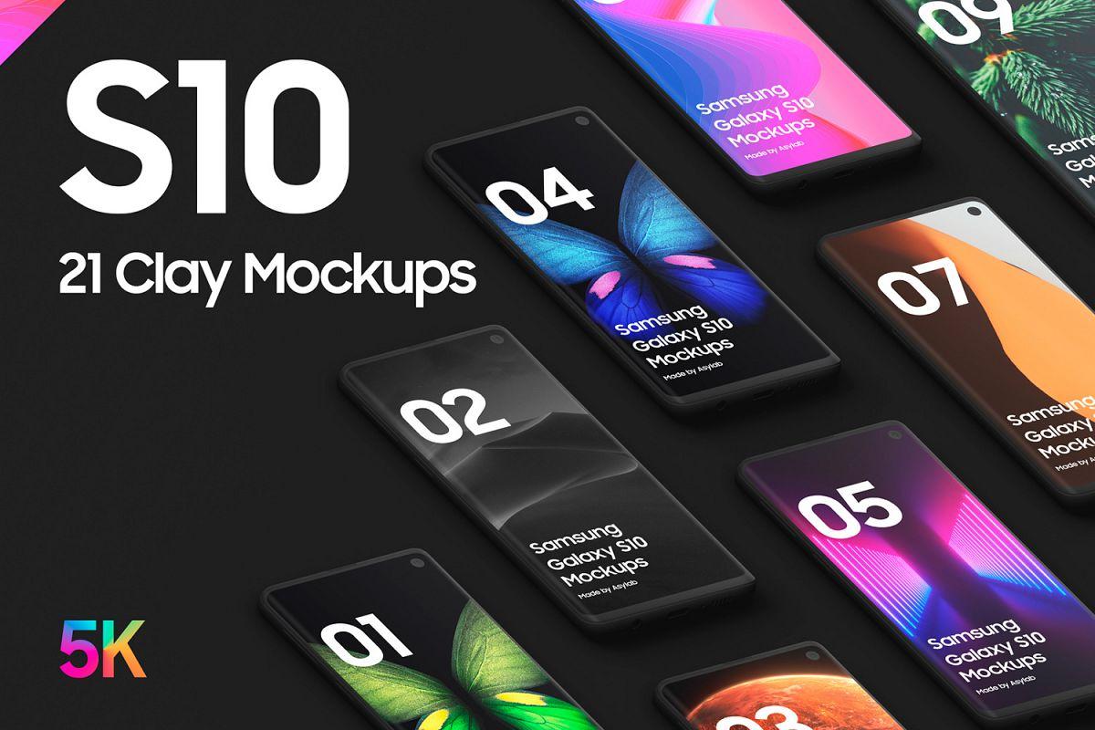 Samsung S10 - 21 Clay Mockups - 5K - PSD example image 1