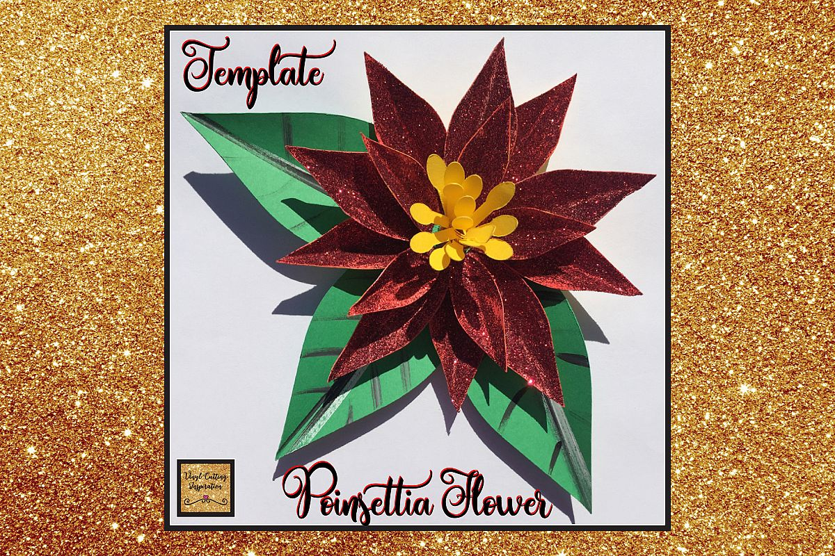 Christmas Svg, Poinsettia Flower Template, 3d Flower svg dxf example image 1