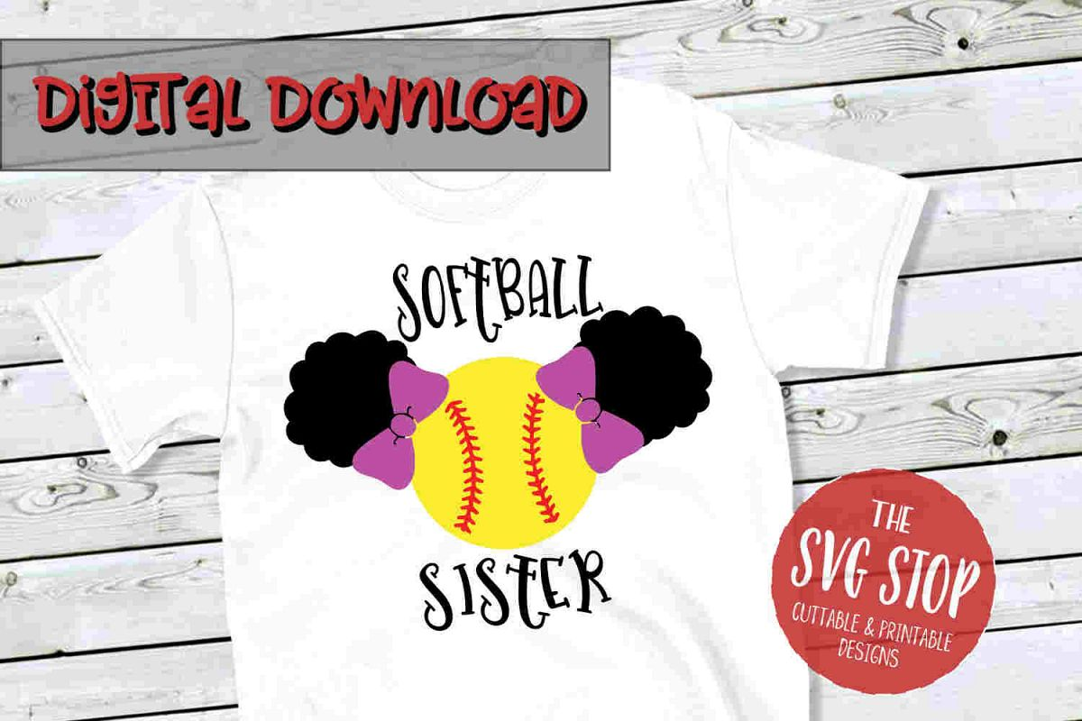 Softball Sister 3-SVG, PNG, DXF example image 1