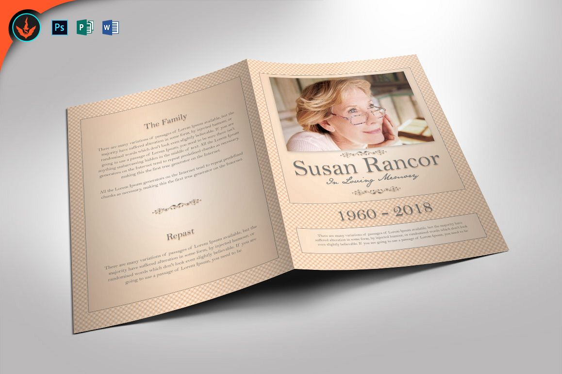 Classic Funeral Program Photoshop Word Publisher Template Example Image 1