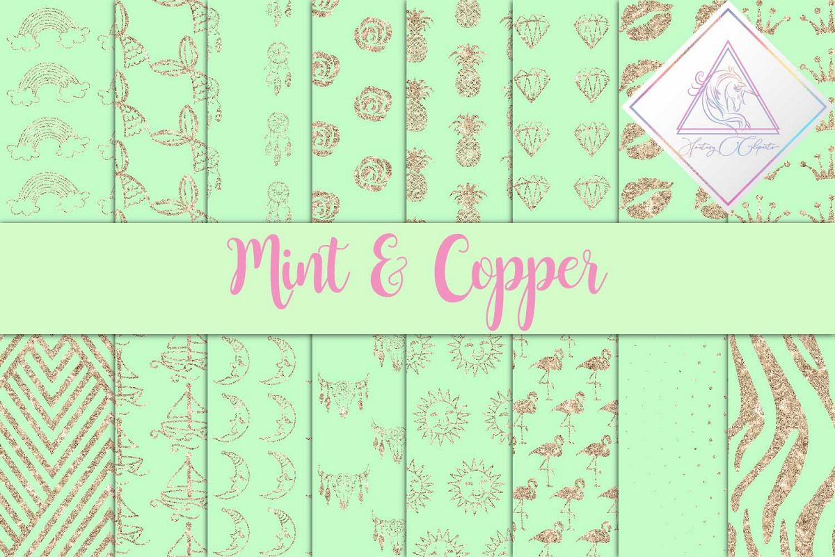 Mint & Copper Digital Paper example image 1