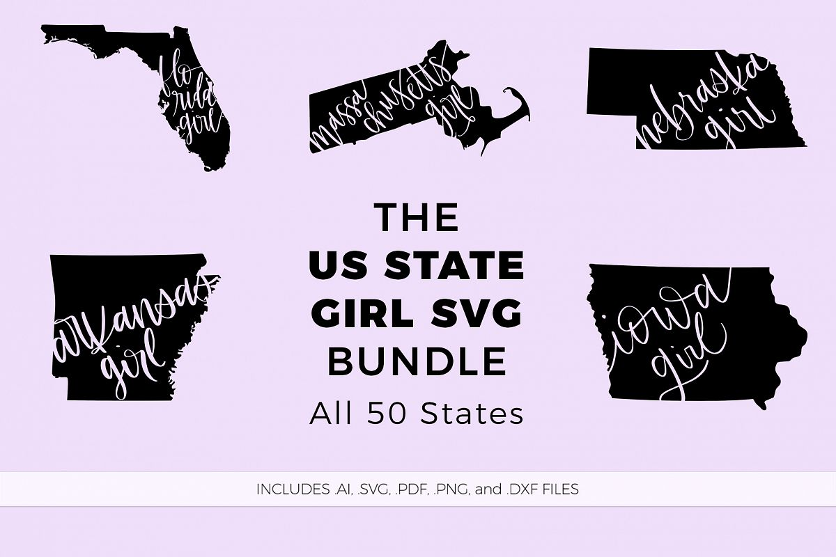 The US State Girl SVG Bundle example image 1