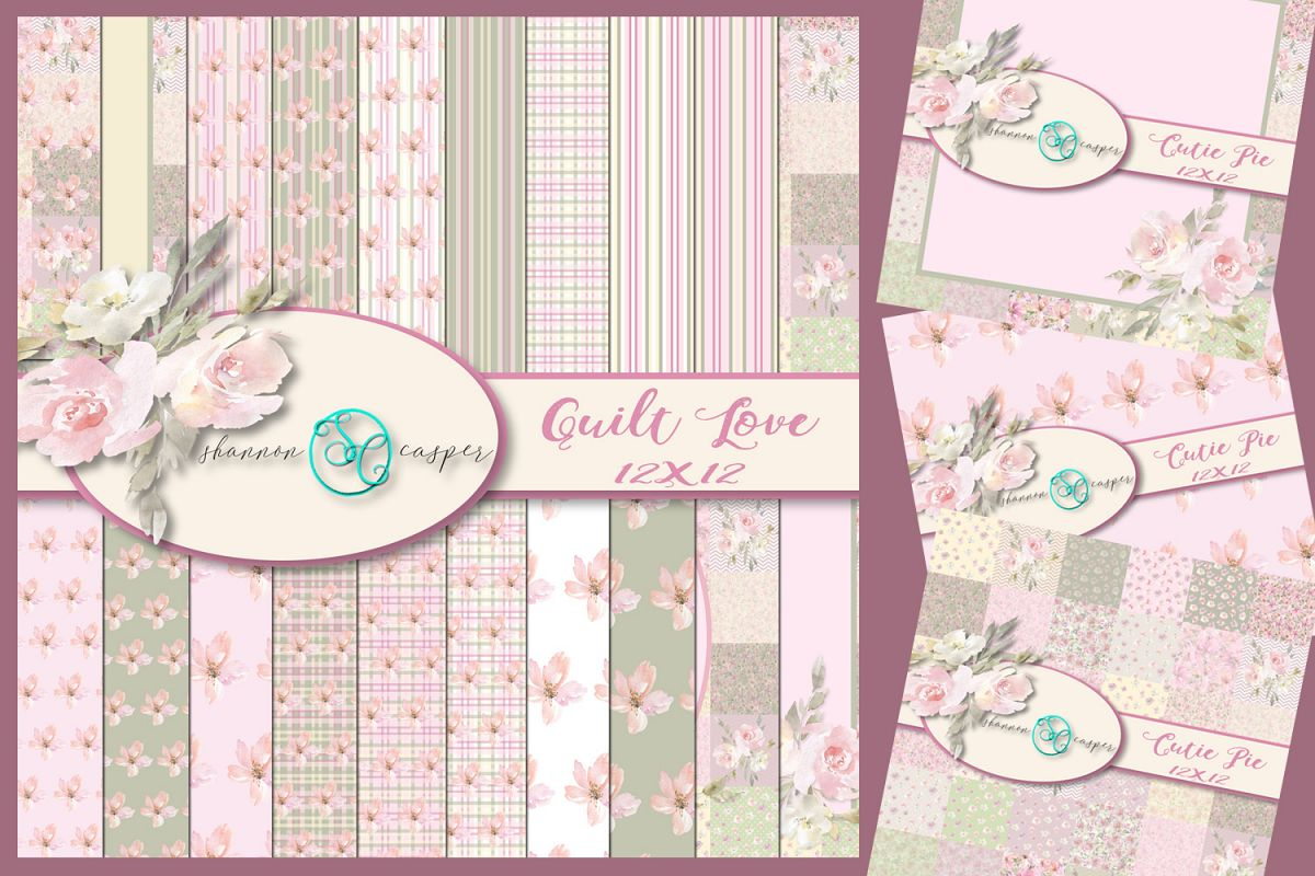 Pink Green Soft Look Papers | Stripes Flowers | Digital Pack example image 1