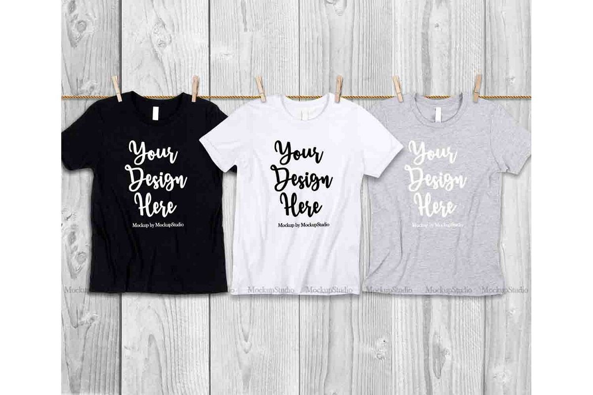 3 Colors Teen T-Shirts Mockup, Cousins Siblings Best Friends example image 1