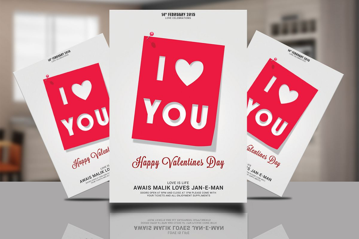 Valentnes i Love You Flyer example image 1