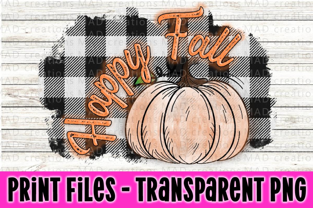 Happy Fall - White & Black Buffalo Plaid- Pumpkin example image 1