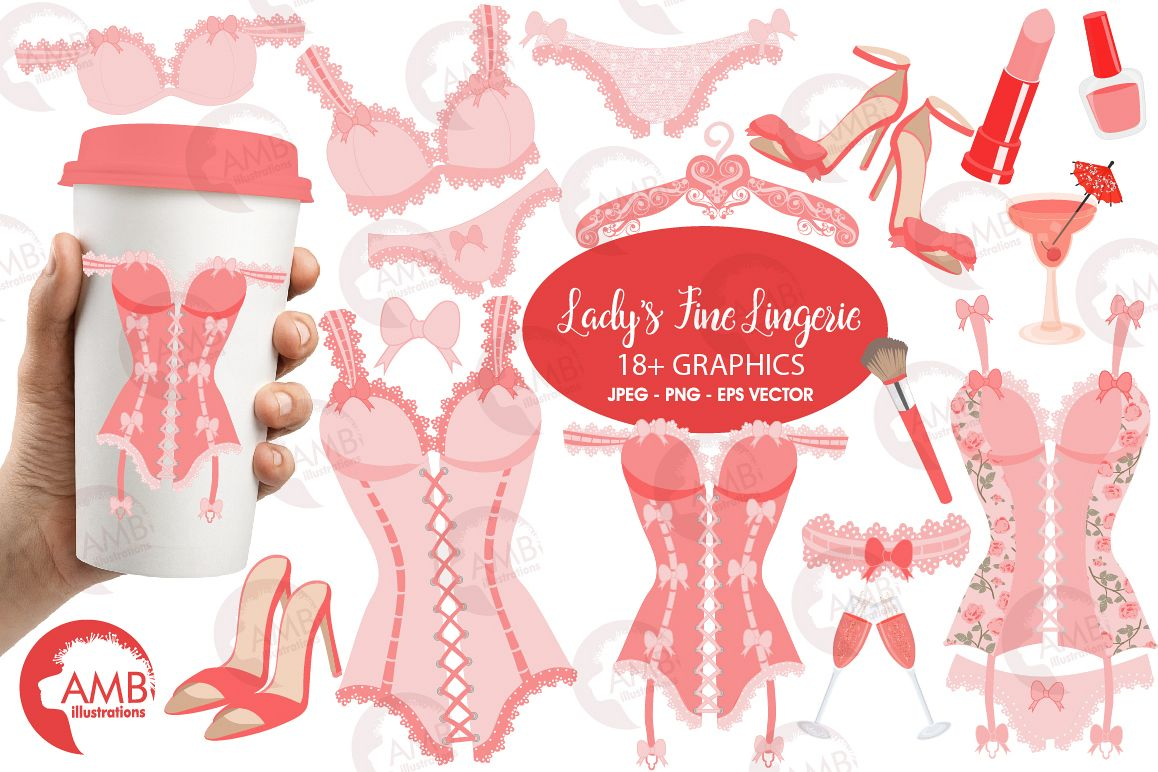Bachelorette Party, Lingerie Clipart-AMB-2209 example image 1