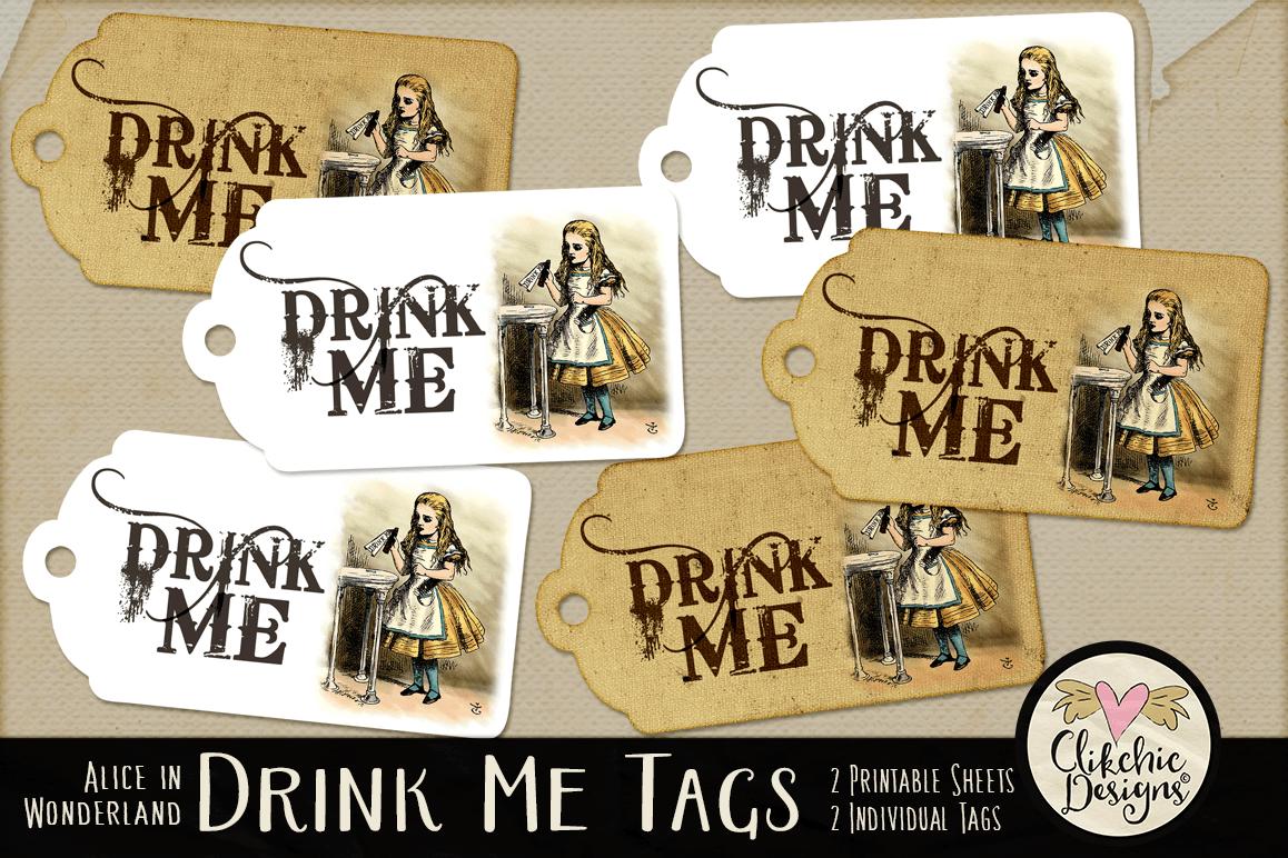Alice In Wonderland Drink Me Printable Tags Example Image 1