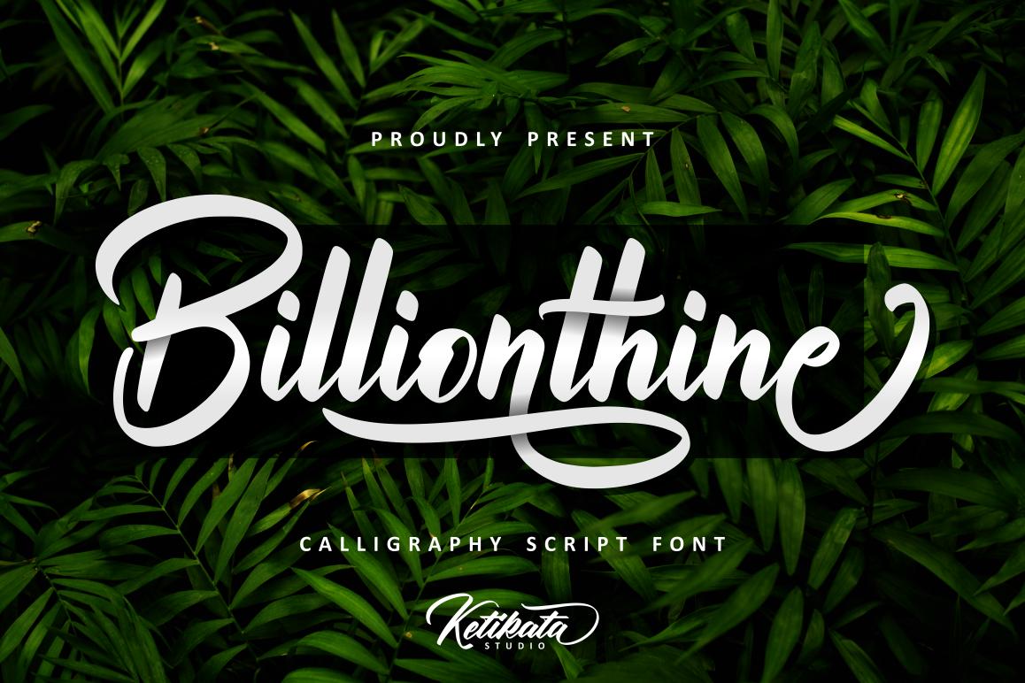 Billionthine Calligraphy Script example image 1