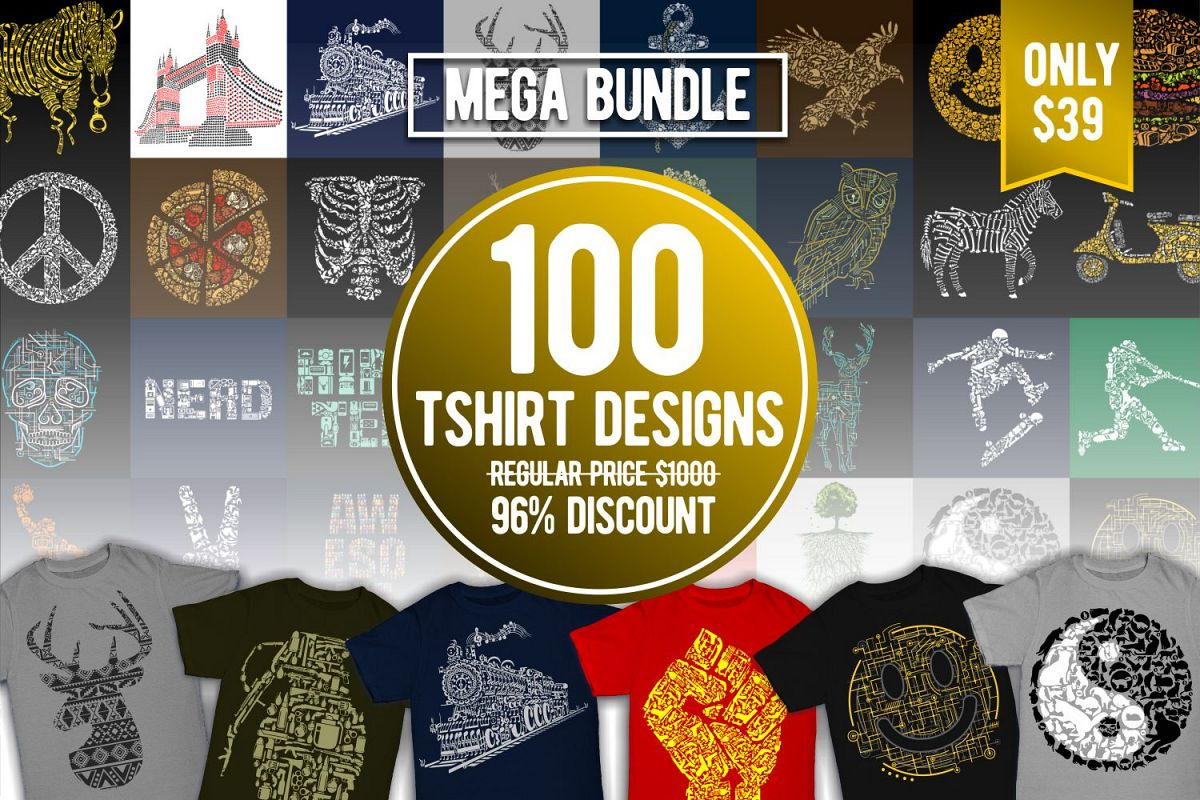 Tshirt Designs Mega Bundle Pack 1 + Pack 2 Free Download