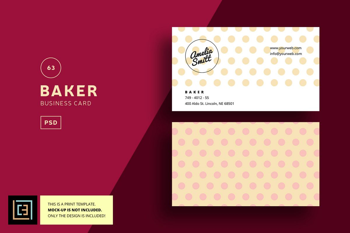 Baker business card bc063 by cooledit design bundles baker business card bc063 example image reheart Gallery