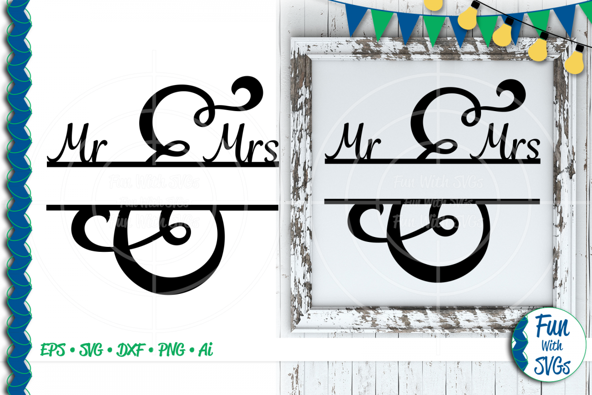 SVG Mr. and Mrs. Split Monogram, Cut File, Clip Art FWS502 example image 1